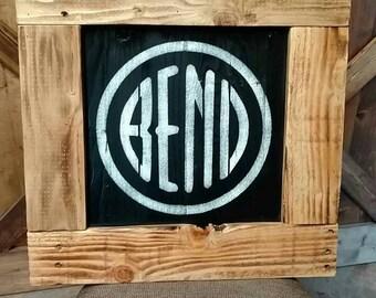 Rustic Framed Pallet Sign, Bend Oregon Logo.