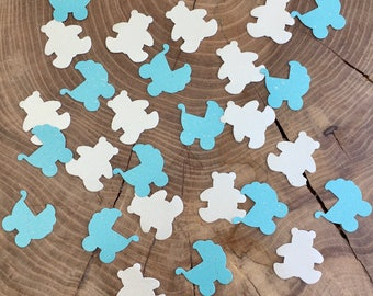 100 Turquoise and Ivory Confetti, Turquoise prams, Ivory Bears, Pearlescent card, Baby shower