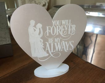 Pearlised Ivory free standing heart wedding gift plaque