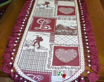 Gobelin table runner, tyrolean table centerpiece, cottage style table topper, runner with trimmings, alpine runner, nordic runner , mountain