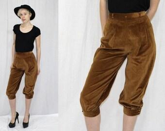 Vintage 70s Brown VELVET High Waist Retro KNICKERS Hippie Boho Crop Dress Pants S