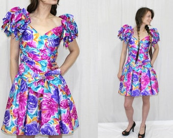 Vintage 80s Bold FLORAL Ruffle Shoulder BOW Retro Full Prom Party Mini Dress XS
