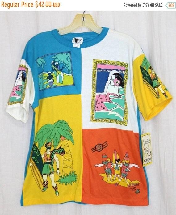 On Sale Vintage 80s Top Stop SURFER Boy Board Colorblock Hawaiian Tee Shirt NOS M