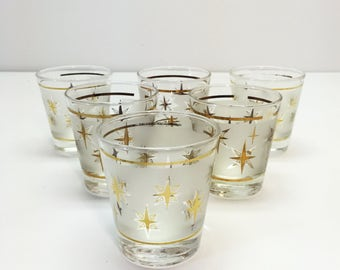 SIX Vintage Libbey Highball Glasses with Gold Stars