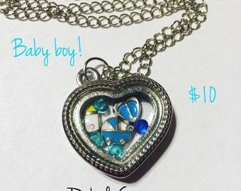 Baby Boy New Mom Pregnancy Floating Charm Living Memory Locket Necklace Keychain Customizable