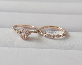 fancy morganite set rose gold morganite ring set 6x8mm morganite engagement ring set diamond gemstone bridal - Morganite Wedding Ring Set