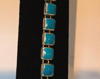 Vintage Silver Blue Turquoise Link Bracelet Jewelry Made in Mexico 925 square link bracelet