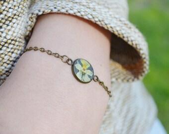 Wild pansy bracelet Real flower Unique Bracelet Nature Bracelet Resin jewelry Botanical bracelet Resin flower Gift for her Yellow flower