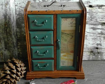 Vintage Men's Jewelry Valet Box, Rustic Masculine Jewelry Organizer, Wood Dresser Top Armoire, Gift For Him, Groomsman Gift, Traveler's Gift