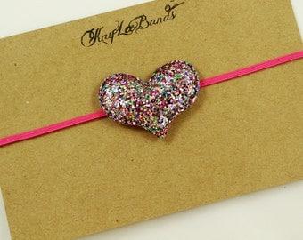 Glitter heart headband, heart headband, valentines day headband, valentine headband, glitter headband, pink headband, newborn headband