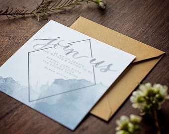 DEPOSIT ONLY // Geometric Watercolor Invitation // Calligraphy // Hand-lettered //