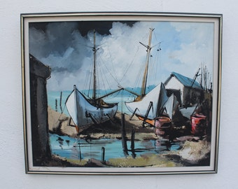 Vintage seascape Oil On Canvas Signed Painting .