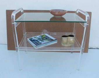 Vintage Two Tier Lucite Bar Cart Or Side Table .