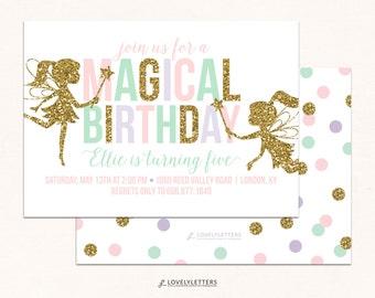 Fairy Birthday / Magical Birthday / Fairy Birthday Invitation / Fairies Invitation / Magical Fairy Invitation / Digital / Glitter Fairy
