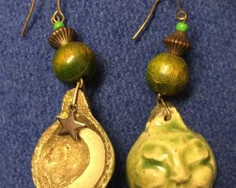 Ceramic face earrings