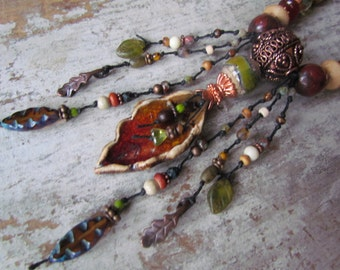 Rustic Artisan Lampwork & Ceramic Leaf Necklace ~ Earthy Ethnic Boho Knotted Necklace, OOAK Handmade Beaded Necklace, Red and Green Necklace