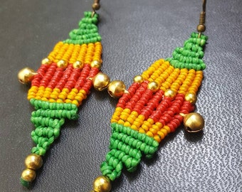 Free shipping, Macrame earring, hippie earring,boho earring, summer earring