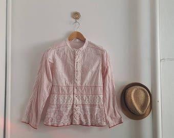 Vintage Cotton Shirt, Tribal blouse, IaaTI shirt, Long sleeve