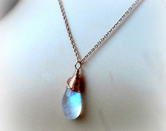 Rainbow Moonstone Necklace Wrapped in Rose Gold On Rose Gold Filled Cable Chain - JUNE BIRTHSTONE - Gift For Her