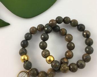 Agate Charm Bracelet Set of 2 #505
