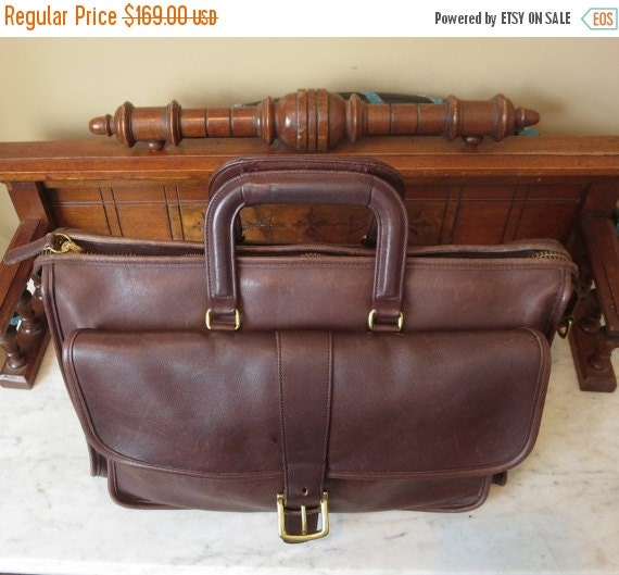 Football Days Sale Harrison Multi-Compartment Briefcase Laptop Carrier In Mahogany Leather - Rare Bag -VGC- Missing Strap