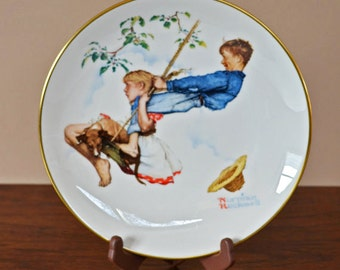 Vintage Norman Rockwell Plate, Flying High, The Four Season Series