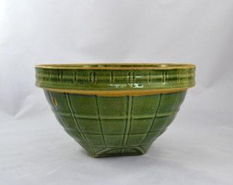 Vintage McCoy Mixing Bowl, Windowpane Green Glaze Kitchen Bowl