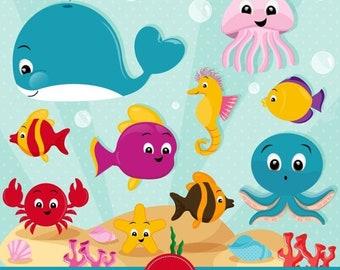 Sea animals clip art | Etsy