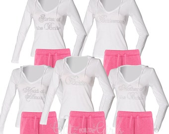 Set of 5 Personalised Bridesmaid Pyjamas, Maid of Honor Pajamas, Personalized Bridesmaid Pajamas, Getting Ready PJ's, Bride Pj's