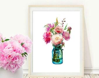 Watercolor flowers Print, Printable Art, Mason Jar Print, boho Decor, Wall Art, Home Decor, Wall Decor, digital download
