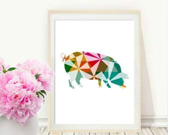 Printable Wall Art, Pig Print, Pig Wall Art, Geometric Print Pig, Digital Art, Modern Wall Art, digital Download, Wall Decor
