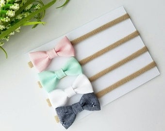 SALE! Baby Headbands | Small Bows | Baby Bows | Nylon Headbands | Baby Headband Set | Pink, Mint, White & Denim bitty bows| Newborn Headband