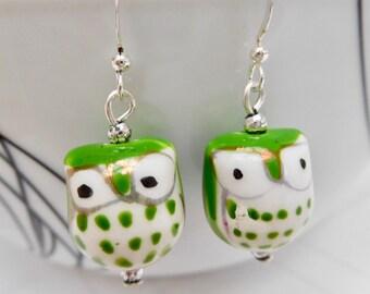 Green & White Owl Earrings, Porcelain Bead Drop Earrings, Owl Earrings, Green Earrings, Owl Jewelry, Cute Gift For Her