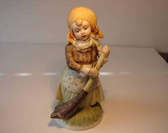 Girl Sweeping, Hand Painted Bisque Porcelain, Vintage Figurine of Sweeping Girl