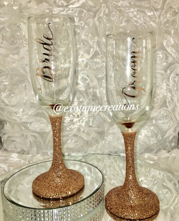 Rose Gold Bride and Groom Champagne Glasses couples gift