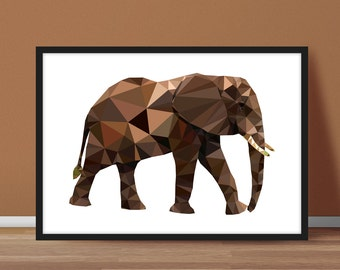 Elephant Print, Elephant Geometric Poster, African Animal Triangles Print, Safari Print Elephant Nursery Decor, Elephant Low Poly Art (G024)