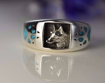 Sterling silver Navajo ring with Wolf Head and Turquoise Wolf Paws Size: 7.5 through 15.5 available