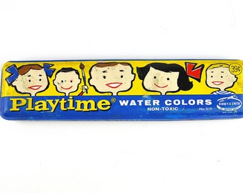 Playtime Water Colors Binney & Smith Crayola No. 515 ~ 8 Color Paint Tin Bright Graphics