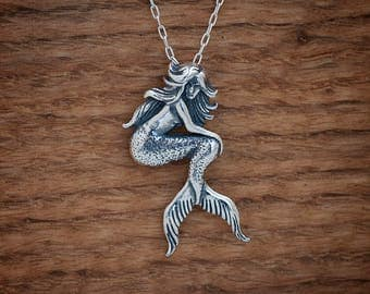 Mermaid Pendant- Sterling Silver- Chain Optional