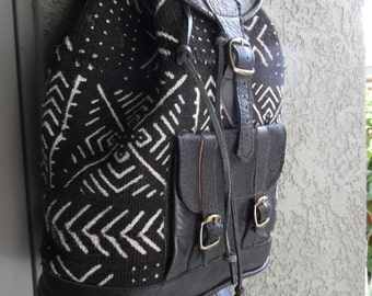 leather back pack with mud clothes from mali west Africa