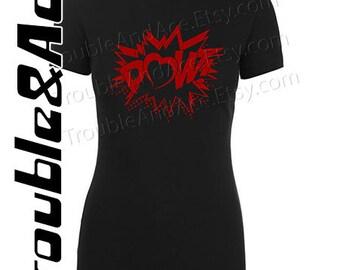 Valentine's Day Graphic T-Shirt Comic Book Bubble POW Heart Shirt Funny Geek Nerd Superhero V-Day Tee for Girls, Teens, Juniors, Women