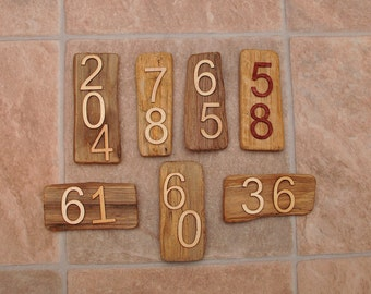 Small DRIFTWOOD door number signs