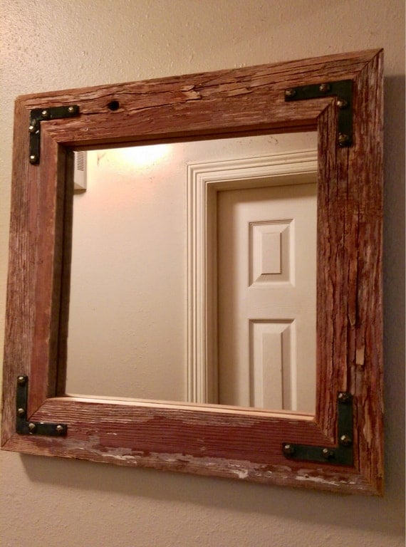 Reclaimed Barnwood Mirror With Accent Brackets