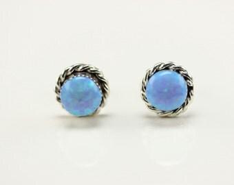 Zuni Indian Jewelry Handmade Sterling Silver Blue Lab Opal Post Earrings