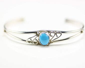 Native American Indian Jewelry Handmade Sterling Silver Turquoise Cuff Bracelet