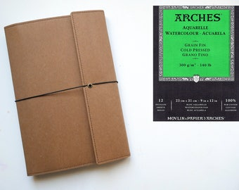 Handmade watercolor sketchbook/journal Kraft brown