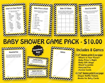 Construction Baby Shower Game Pack - 70% OFF - PRINTABLE Boy Shower Games-8 Pack- Bee Baby Shower Chevron Party - Black Bright Yellow 21-5