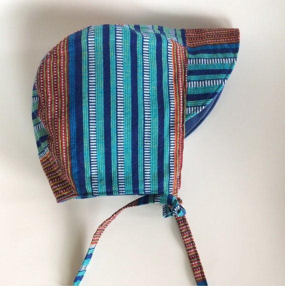 African wax peonyed stripes baby bonnet kids hat