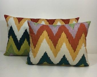 Schumacher Adras Ikat - caravan colourway Cushion Cover, many sizes