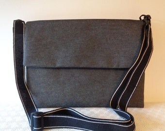 Denim cotton laptop satchel, messenger case, document bag, cross body bag for tablet/ laptop with outside pocket, magnet  closure long strap